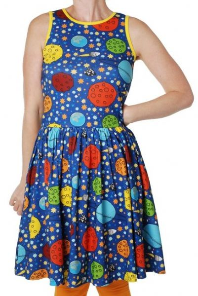 Duns Mama Sleeveless Gathered Dress Lost in Space Navy